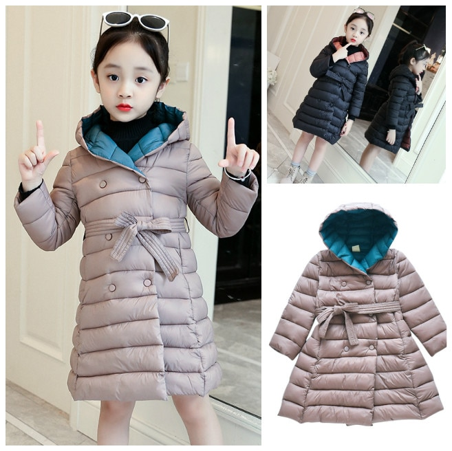 2019 Girl Jacket Winter Children Down Cotton Clothing Kids Clothes Warm Thick Parka Hooded Long Coats 6-15Y