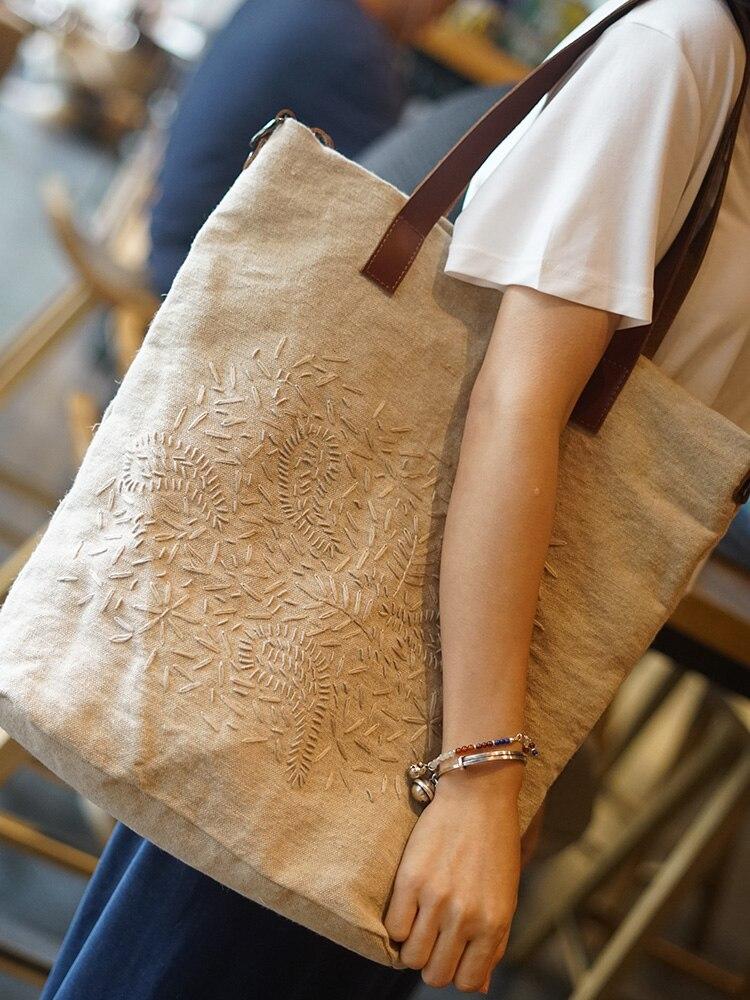 لينة القطن والكتان قماش المرأة الأدبية حقيبة بكتف واحد الرجعية الفتيات حمل حقيبة التطريز تصميم حقائب السفر Crossbody