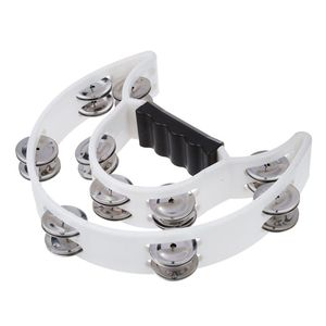 Double Row Jingles Half Moon Musical Tambourine Percussion Drum White Party KTV