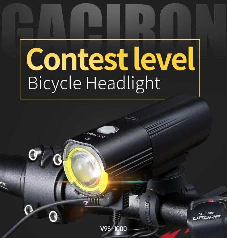 Gaciron v9s bicicleta farol de carga usb bateria interna ciclismo iluminação led