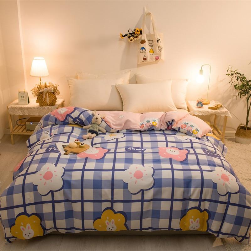 غطاء لحاف بنمط رعوي ، مربعات منقوشة بزهور الأميرة ، أزرق ، وردي ، مفرش سرير مزدوج ، مقاس كينغ/كوين