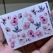 Çiçek/kelebek 3D tırnak çıkartmaları Сharms tırnak su transferi kristaller tırnak sticker tırnak sarar sprig 3 d tırnak slayt tırnak dövme, J
