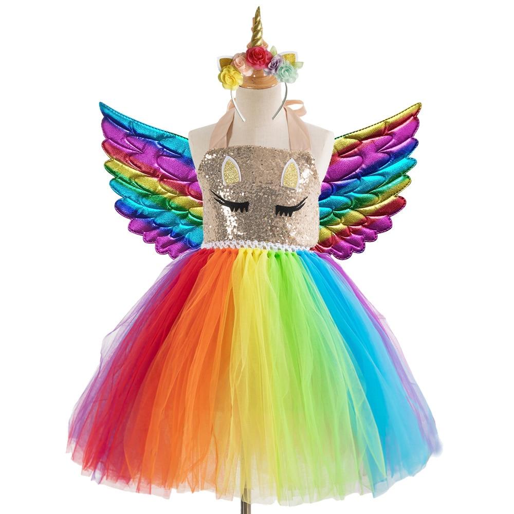 New Rainbow Unicorn Costume for Girls Handmade Tutu Mesh Mesh Dress Christmas Halloween Costume for Kids cute unicorn mermaid reindeer costume cosplay girls tutu princess dress halloween costume for kids