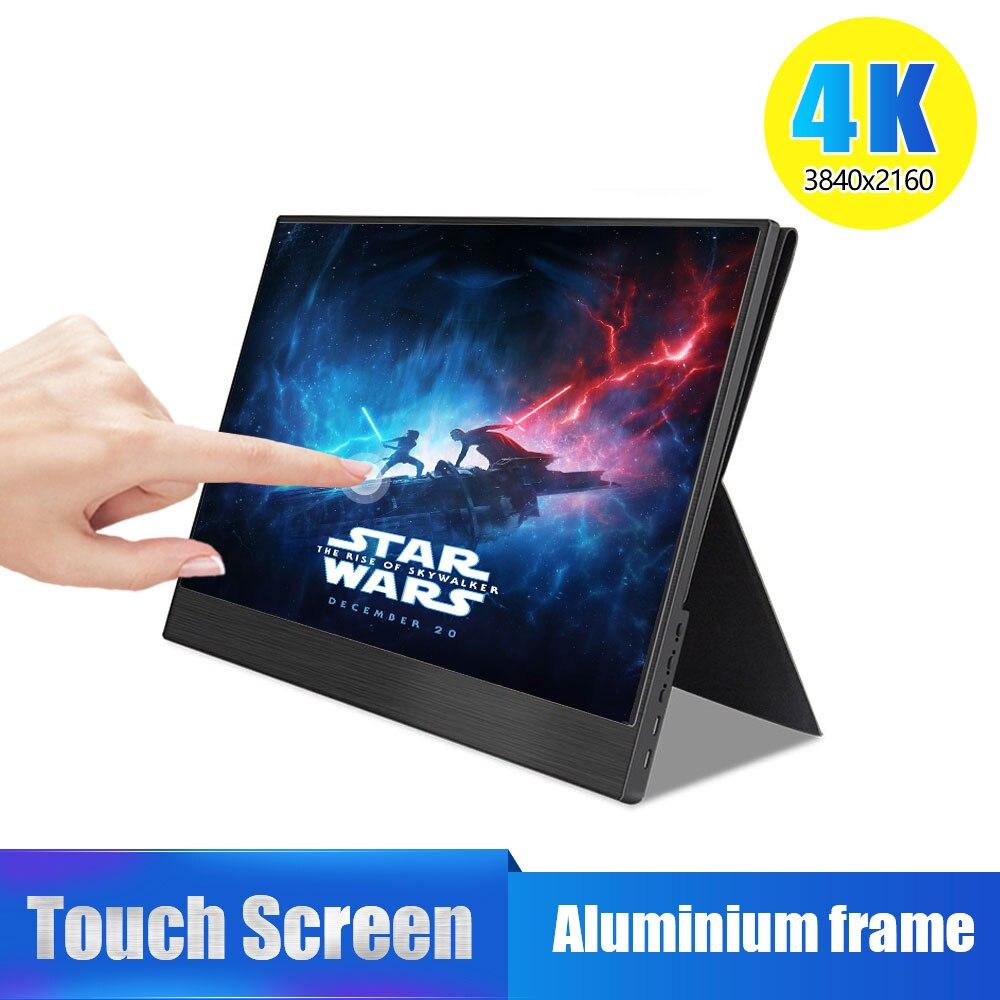 Monitor portátil 4K Touch 15,6, pantalla LCD IPS ultra delgada 13,3x3840 de 2160 pulgadas con HDMI tipo C para ordenador portátil PS4