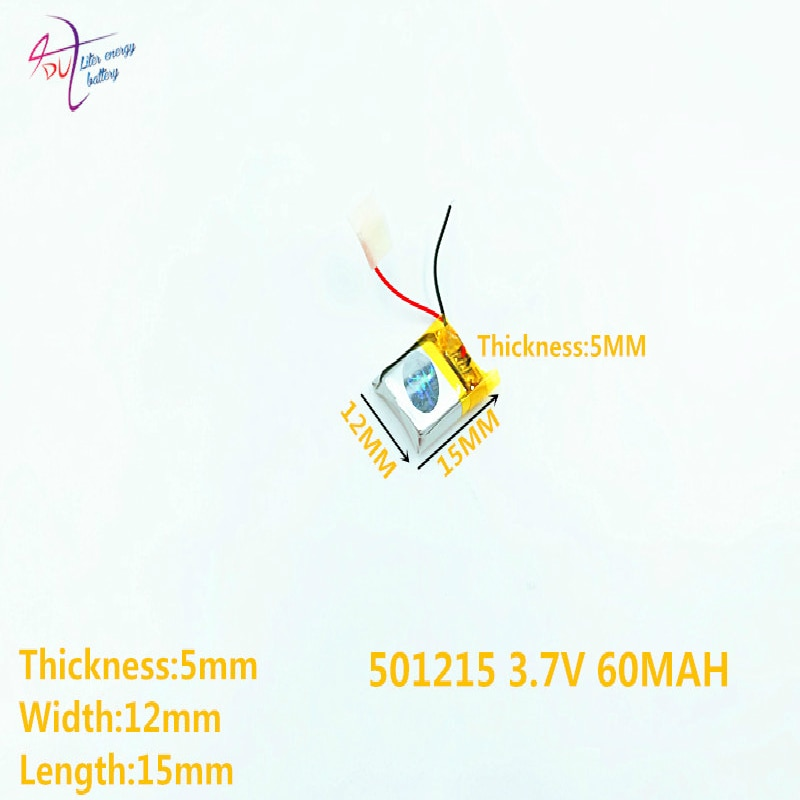 lithium polymer battery 501215 3.7V 60MAH 501125 501025 recorder Bluetooth Battery