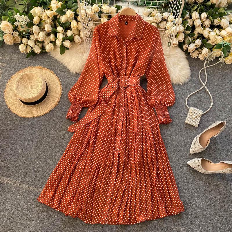 Spring And Summer French  Dress 2021 Sundress Ladies Long Sleeve Orange Polka Dot Chiffon Pleated Dresses Femme Robe