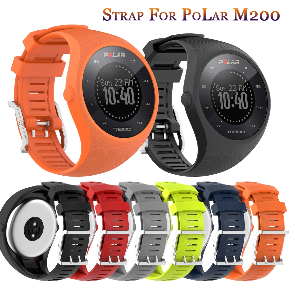 Accessory Soft Silicone Strap For Polar Watch Replacement Watch Band Wrist Strap Sport Bracelet For POLAR M200 GPS Running Watch high quality comfortable silicone replacement wrist watch band for polar v800 smart bracelet with tool smart watch strap