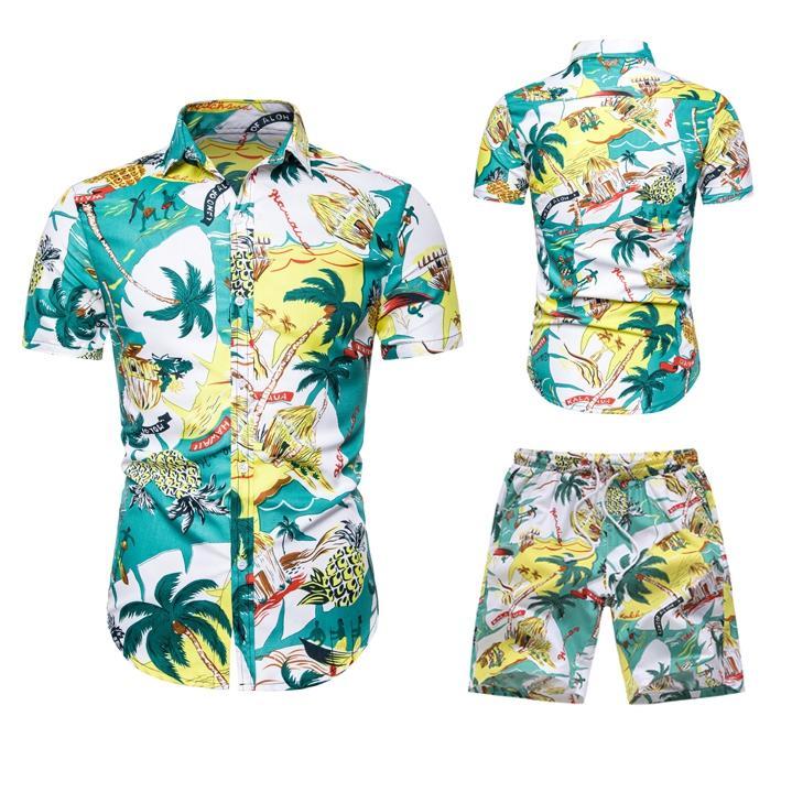 ropa de hombre 2020 spring travel casual shirt 2-piece suit Hawaiian beach pants + player De Humber men's suit