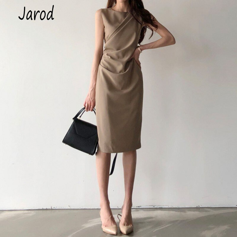 2020 Summer Bandage High Waist Draped Dress Female New Fashion Sexy Sleeveless work OL pencil Dress Vestidos