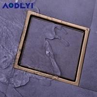 Drain de douche en acier inoxydable brosse or noir salle de bains Drain de sol insertion de carreaux carres grilles a dechets de sol 150x150
