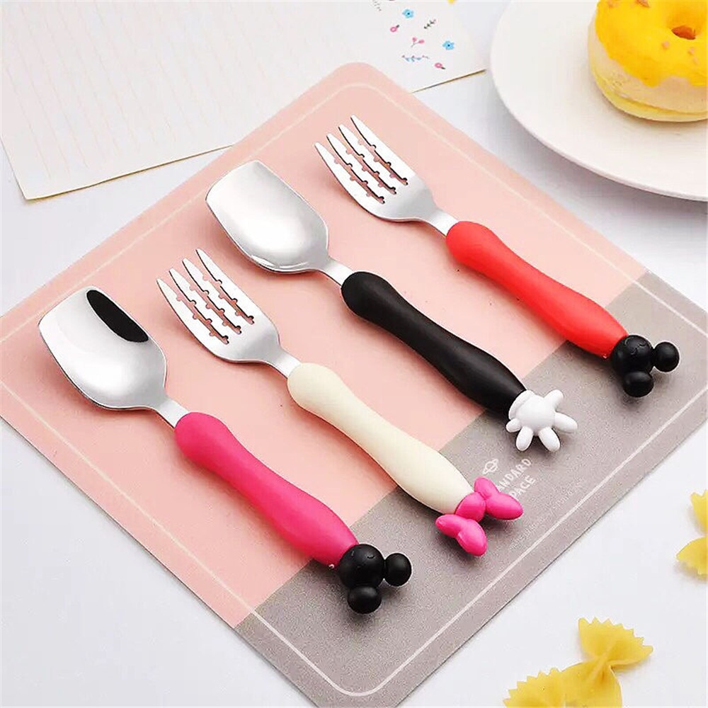 Детский столовый набор посуды из нержавеющей стали с милым рисунком Микки и Минни вилка, ложка, посуда, набор с мягкой силиконовой ручкой столовые приборы для детей