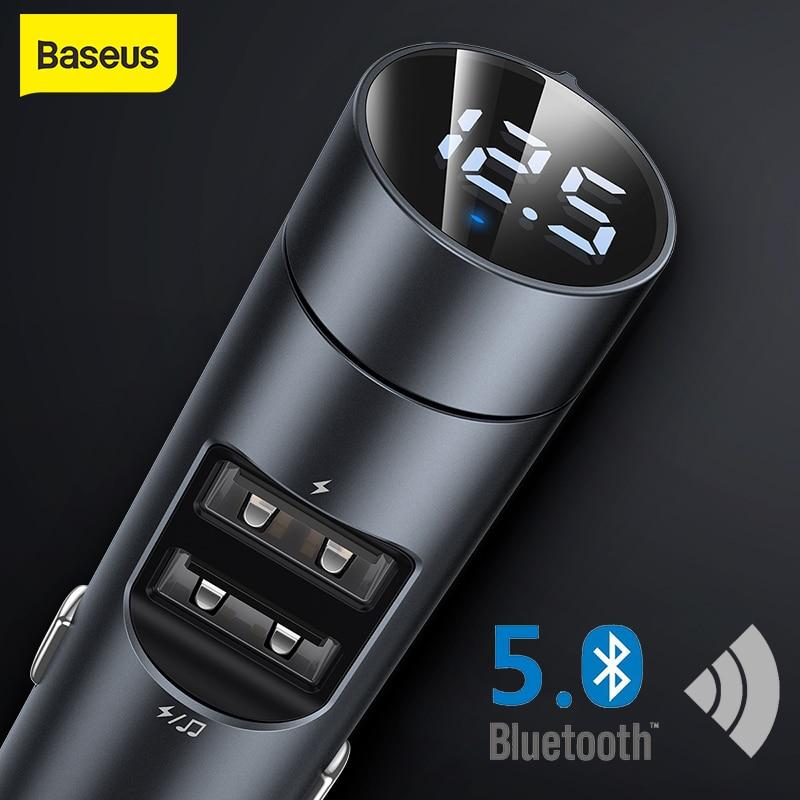 Фото - Baseus Car FM Transmitter Bluetooth 5.0 Handsfree Modulator Car Charger 3.1A Dual USB Car MP3 Player Wireless Audio Receiver Kit fm трансмиттер baseus t typed bluetooth mp3 charger with car holder dark coffee ccall tm12