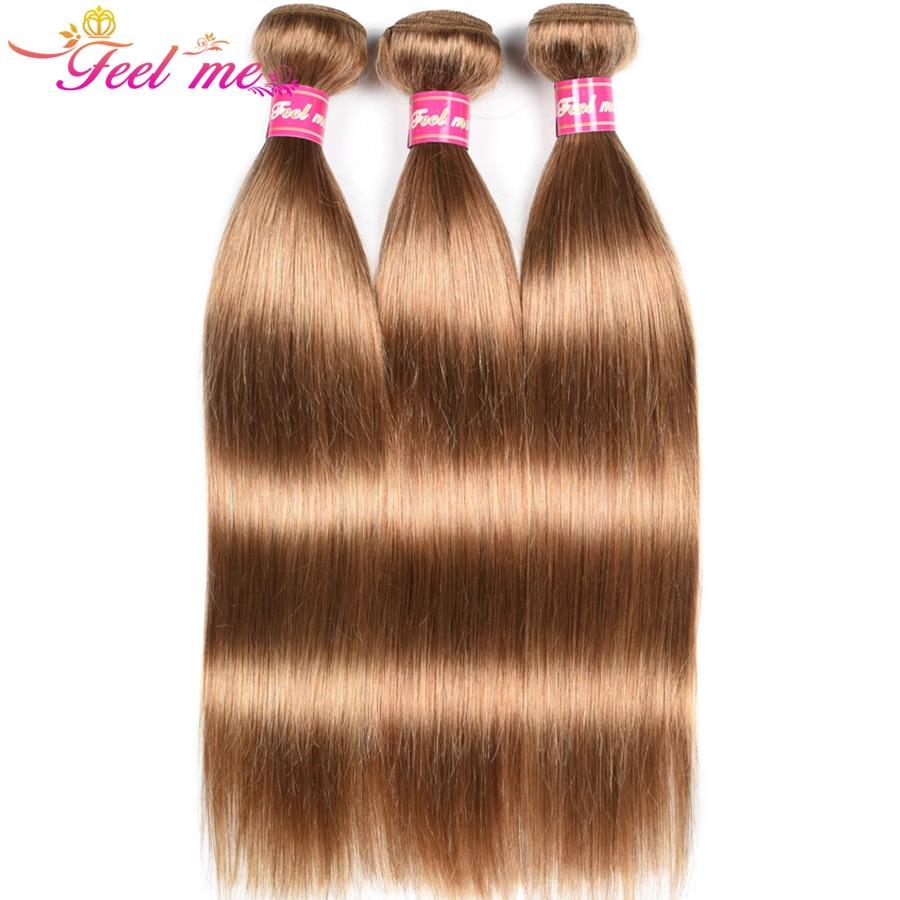 Feel Me, перуанские прямые пучки волос, предварительно окрашенные человеческие волосы, плетение, 3/4 пучка, предложение #27, светлые волосы для на...