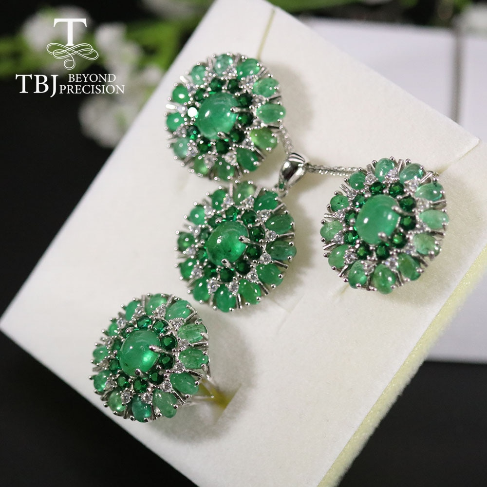 Luxury Big natural  Emerald Jewelry set 925 silver big clasp earring ring pendant  emerald party fine jewelry for women wife