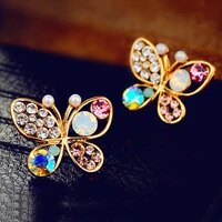 temperament pearl butterfly hollow color stud earrings for women