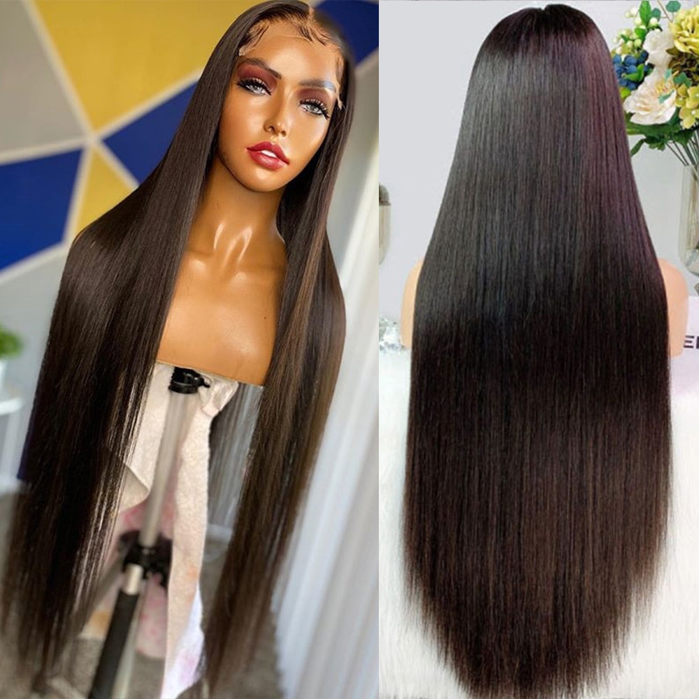 Bone Straight Full Lace Front Human Hair Wigs For Black Women Pre Plucked Natural Brazilian 30 40 Inch 13x4 Hd Lace Frontal Wig