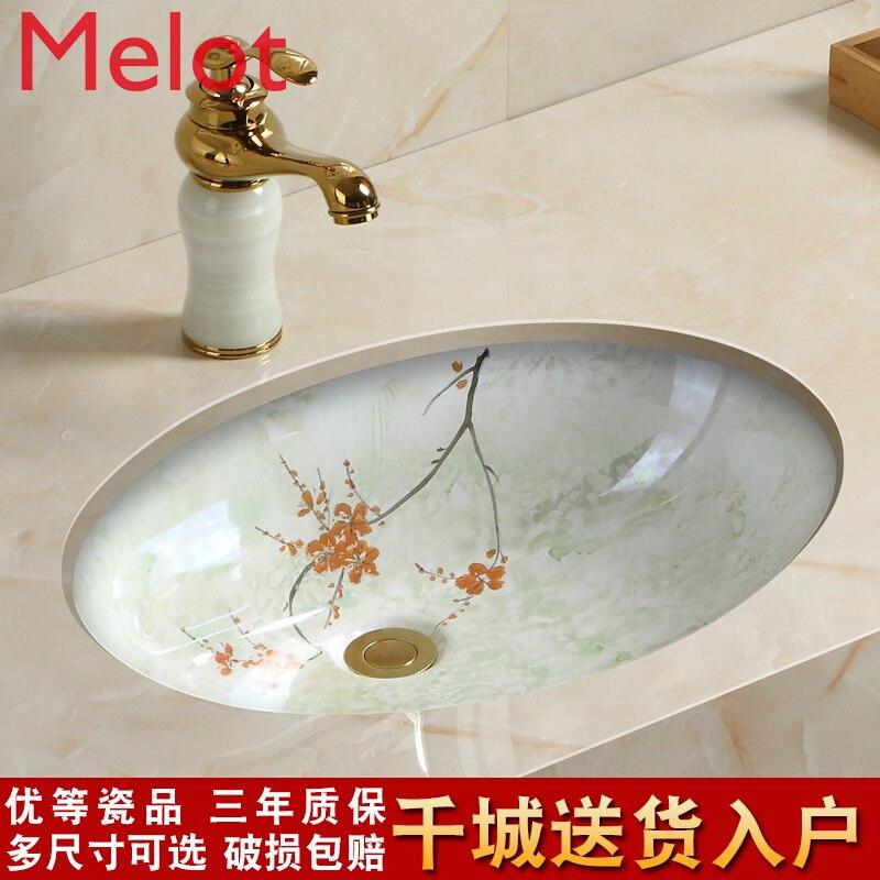حوض غسيل مربع من السيراميك ، نمط صيني بيضاوي ، تحت المرحلة