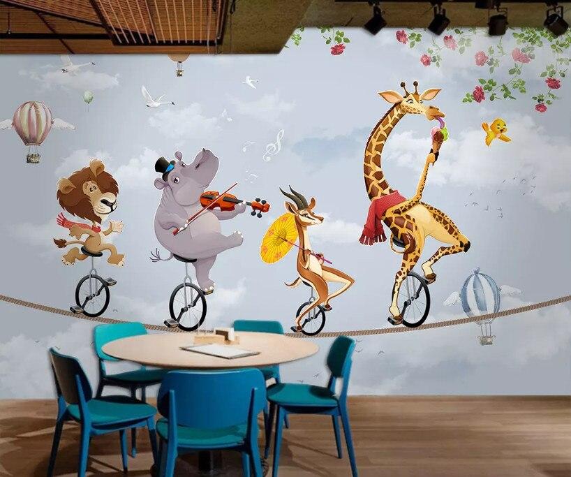 Bacal personalizado animal foto papel de parede 3d dos desenhos animados balão murais papel para o quarto do bebê criança papéis decoração da sua casa 5d