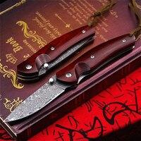 PEGASI красный сандаловый нож из дамасской стали, складной нож, острый Карманный, дамасский нож, уличный складной тактический нож