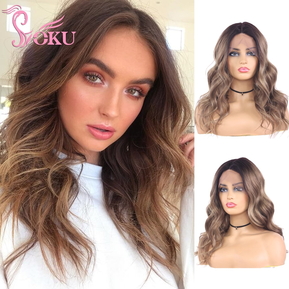 Ombre Blonde Wigs Lace Front Wig 14 Inch Long Wavy Hair Heat Resistant Fiber for Women Daily Party Soku Synthetic Side Part Wigs