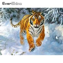 Evershine Diamond Painting Tiger Full Drill Square Diamond Mosaic Animals Kit Diamond Embroidery Full Set Painting Rhinestones