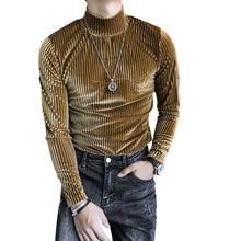 Fashion Trend Korean Slim T-shirt Mens Long Sleeve Mid-collar Bottoming Shirt 2020 Spring and Autumn Mens T-Shirt