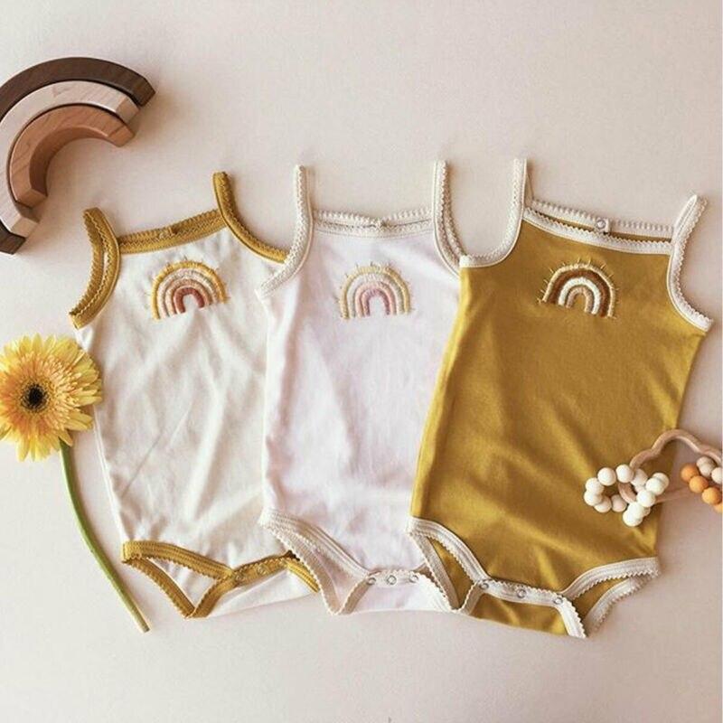 Одежда для новорожденных и маленьких девочек от 0 до 24 месяцев летний Боди без рукавов с принтом Raibow элегантный милый пляжный костюм