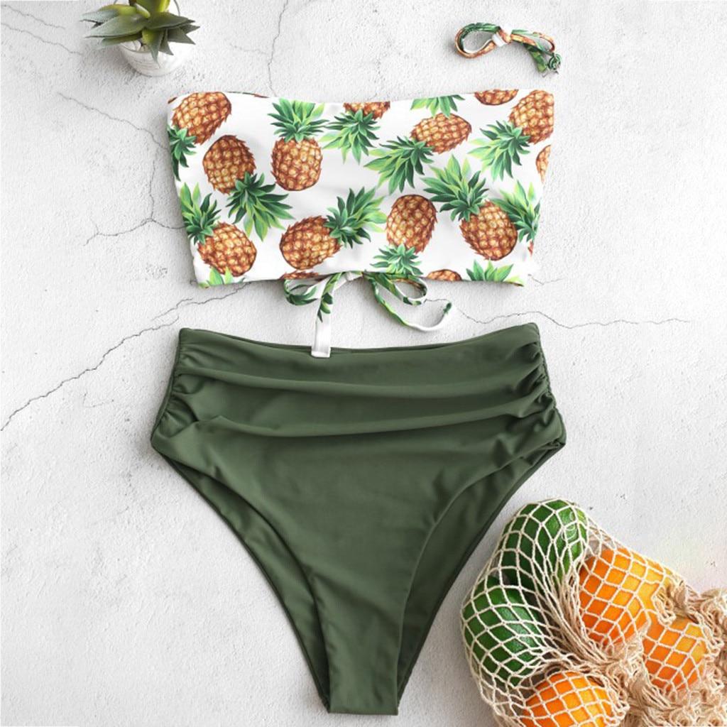 Hawaii Bikini Biquini Micro Mini Bikini Set Swimming Beachwear Off Shoulder Pineapple Print Swimwear High Cut Bikinis Wholesale