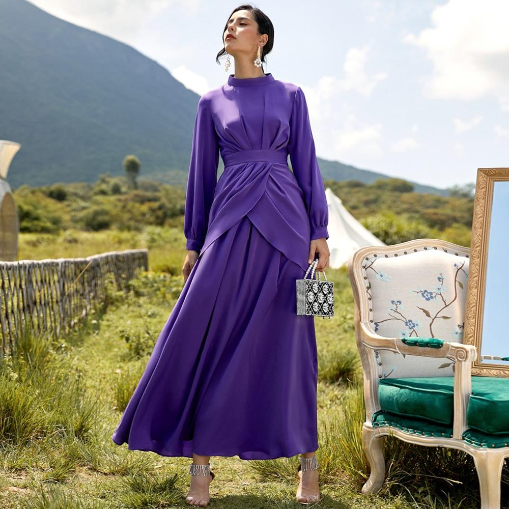Fridayin المرأة ماكسي عباية فضفاضة طويلة الأكمام الصغيرة عالية الرقبة بلون برعم سليم فستان طويل دبي تركيا الإسلام الملابس قفطان