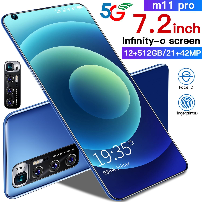 XIAOM11 Pro 7.2 Inch 5600mAh 10 Core Dual SIM+Micro SD Fingerprint ID Mobile Phone 21+42MP 12+512GB Smart Phone Andriod 10 Black