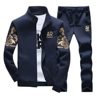 2021 mens new spring and summer fashion sports clothes casual sports suit dark blue long sleeve trousers