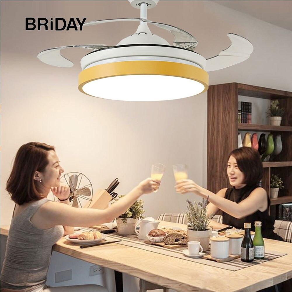 42 بوصة الحديثة غير مرئية معكرون led مروحة بمصباح المعيشة غرفة الطعام غرفة نوم المشجعين مصابيح 220 فولت 110 فولت مع التحكم عن بعد الإضاءة
