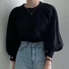 Blouse 2021 Autumn New Korean Version French Simple Round Neck Puff Sleeve Shirt Temperament Casual