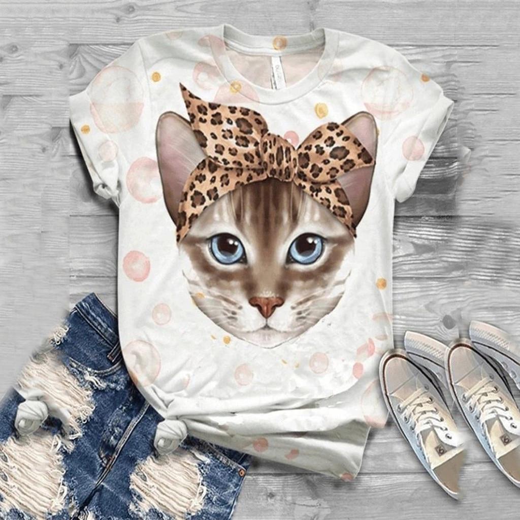 3d gato impreso gráfico camisetas mujeres o-Cuello de manga corta Camiseta informal para mujeres de verano Mujer Playeras Mujer