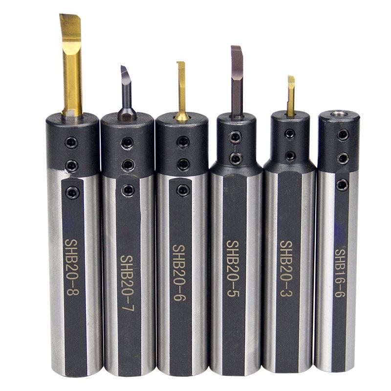 Купить с кэшбэком BEYOND Boring Tool Bar SHB SHB12 SHB16 SHB20 2 3 4 5 6 7 8 10 12 mm Lathe Cutter Sleeve Round shank CNC Cutting Holder
