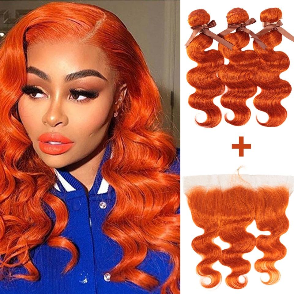 Remy forte onda do corpo pacotes com fecho loira pacotes com frontal remy cabelo brasileiro tecer pacotes 3/4 pacotes laranja