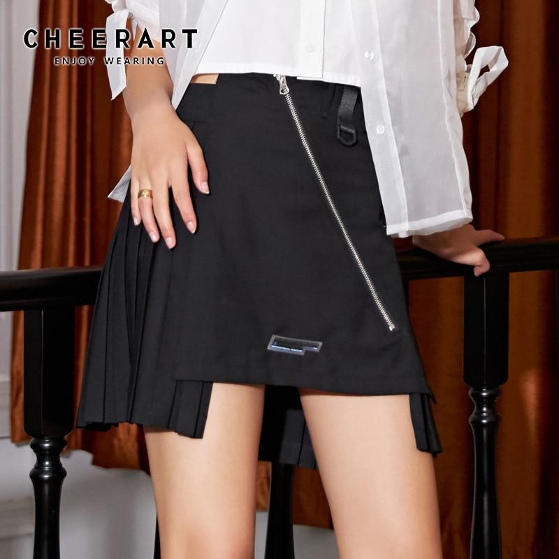 Cheerart preto plissado mini saia verão cintura alta zíper assimétrico remendo moda saia feminina minissaia streetwear