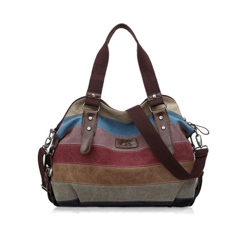 2019 New Womens Shoulder Bags Satchel Stripe Vintage Crossbody Tote Handbag Purse Messenger Canvas Large Travel Bag