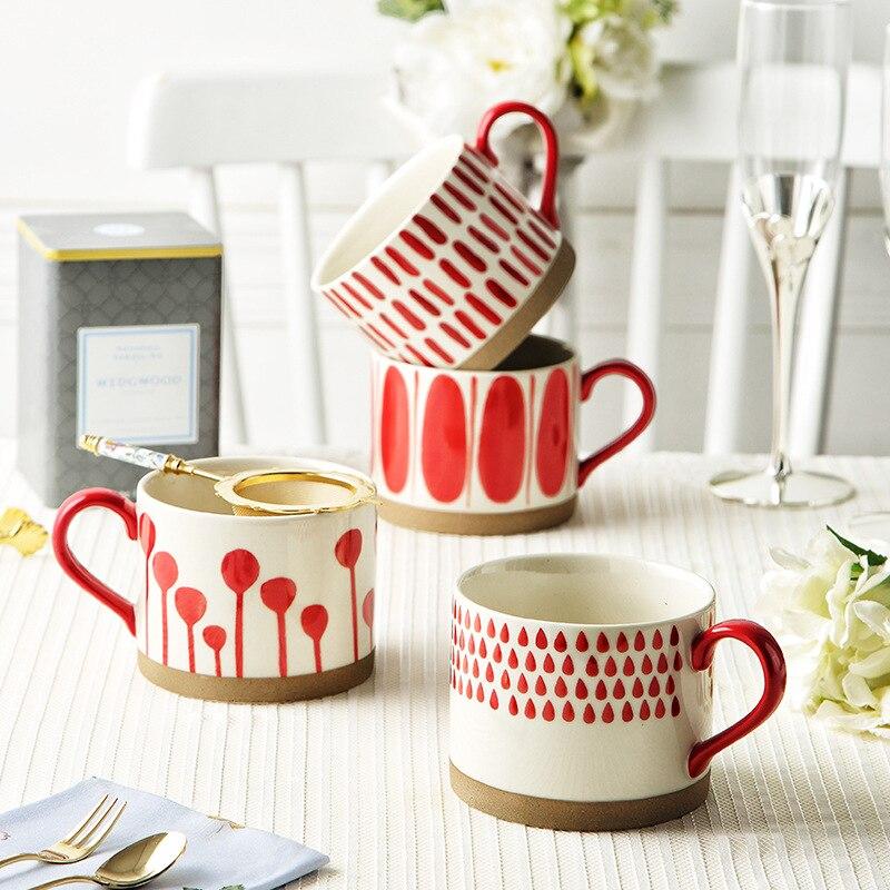 مخطط فنجان القهوة الشمال الإبداعية اليد اللون الإفطار الحليب الأذن واحدة قدح من الفخار كوب السيراميك زوجين فنجان القهوة أحمر أخضر