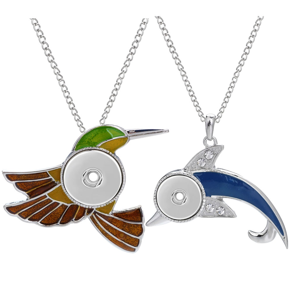 Новая красочная птица и Дельфин ожерелье с кнопкой ювелирные изделия подходят 18 мм металлические кнопки ювелирные изделия оснастки кулон о...