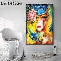 Affiche de toile imprimee de fille a fleurs moderne  Style de decoration nordique  images murales dart pour salon  decoration de maison