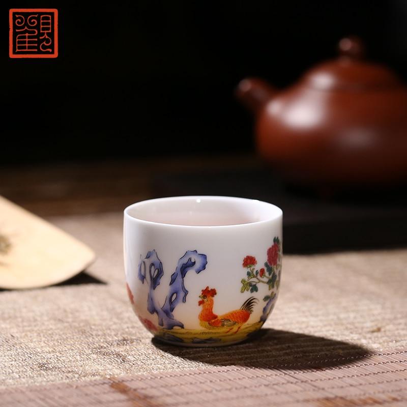 Guan fu museu emblemático copo de frango terno jindezhen cerâmica teacup guanfu tigela de frango mestre xícara de chá