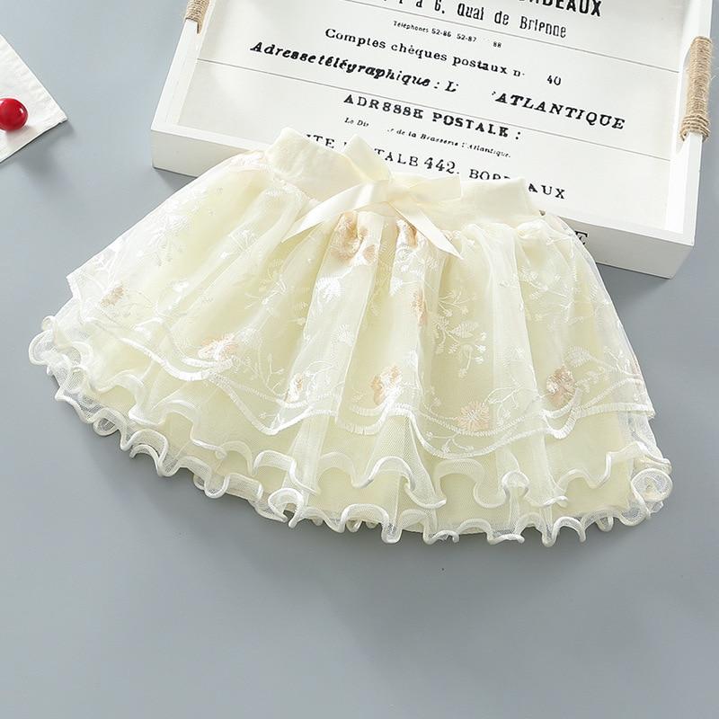 Купить с кэшбэком 2021 New Summer Baby Girl Skirts Pleated Pretty Flowers Embroidery Mesh Tutu Ballet Girls Lace Dance Tulle Princess Skirt 2-8Y