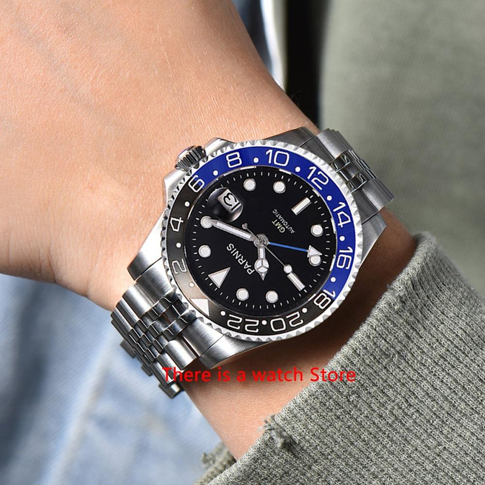 Parnis 40mm reloj mecánico automático Dial negro para hombres GMT bisel de cerámica de lujo Luminoso a prueba de agua zafiro reloj de pulsera Masculino