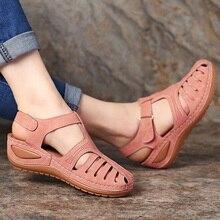 Sandalias con plataforma de gladiador para mujer, zapatos de talla grande 44, cuñas, informales, de verano