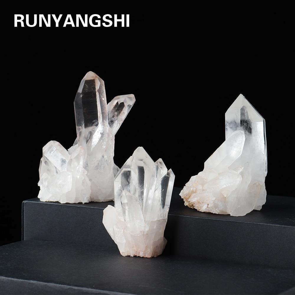 Натуральный белый кварц кристалл кластера прозрачые кварцевые минеральное с лечебным действием, образцы Камень Кристалл точка образца украшения дома