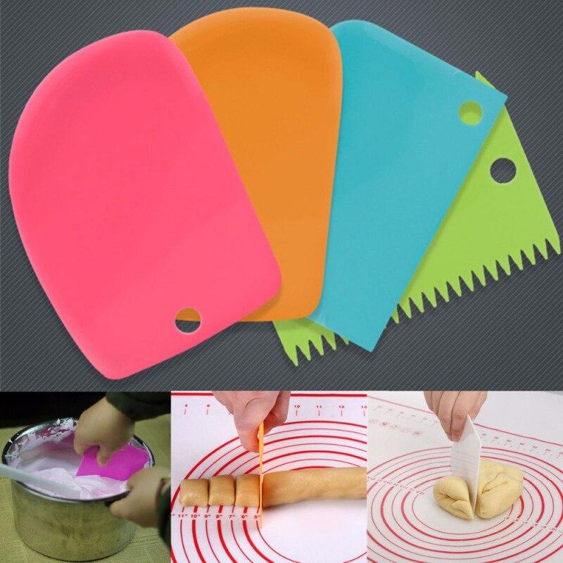 3Pcs/Set Plastic Cake Icing Scraper Decorating Baking Fondant Pastry Tools Plain Smoother Spatulas Cutters