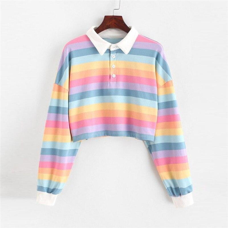 Novelty Womens Sweatshirt Color Stripe Button Long Sleeve Pullover Hoodies Tie Dyed Gradient Color Sweatshirt Tops Blouse N2