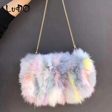 Luxury real fox fur Women Messenger Bag 2019 Winter lasies Chain Warm Shoulder Bags Designer Fur Tote Bag Evening Party Clutch