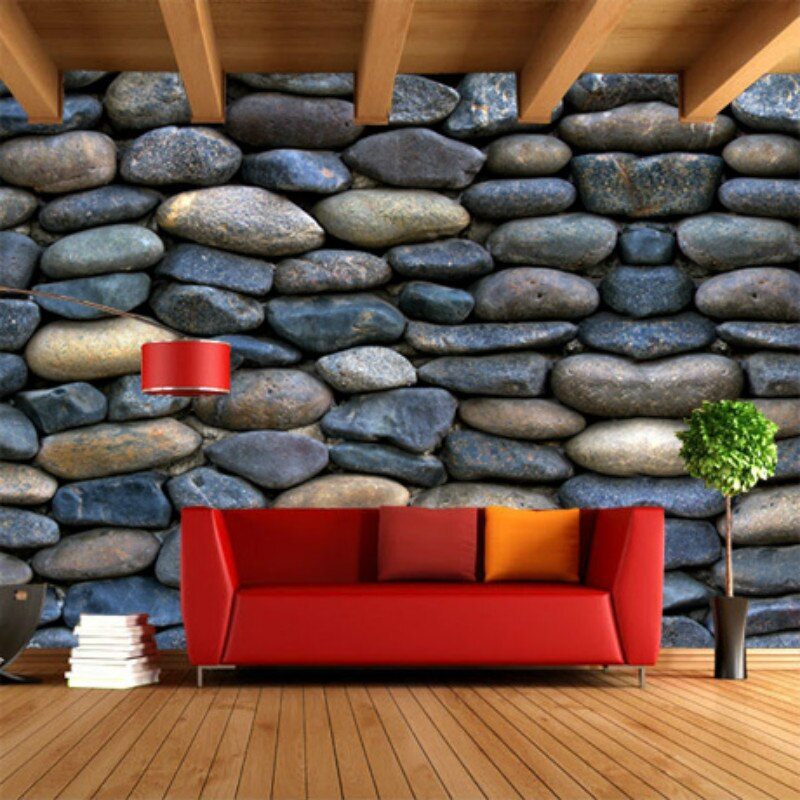 Murales de pared de adoquines personalizados para sala de estar dormitorio papeles tapiz decoración del hogar Bar Café restaurante decoración Industrial papel tapiz 3D